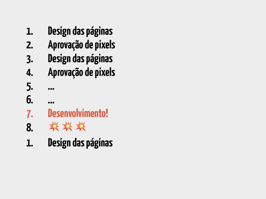 1. Design das páginas 2. Aprovação de pixels 3....
