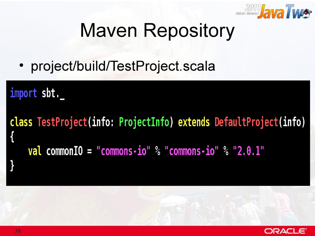 38 Maven Repository • project/build/TestProject...