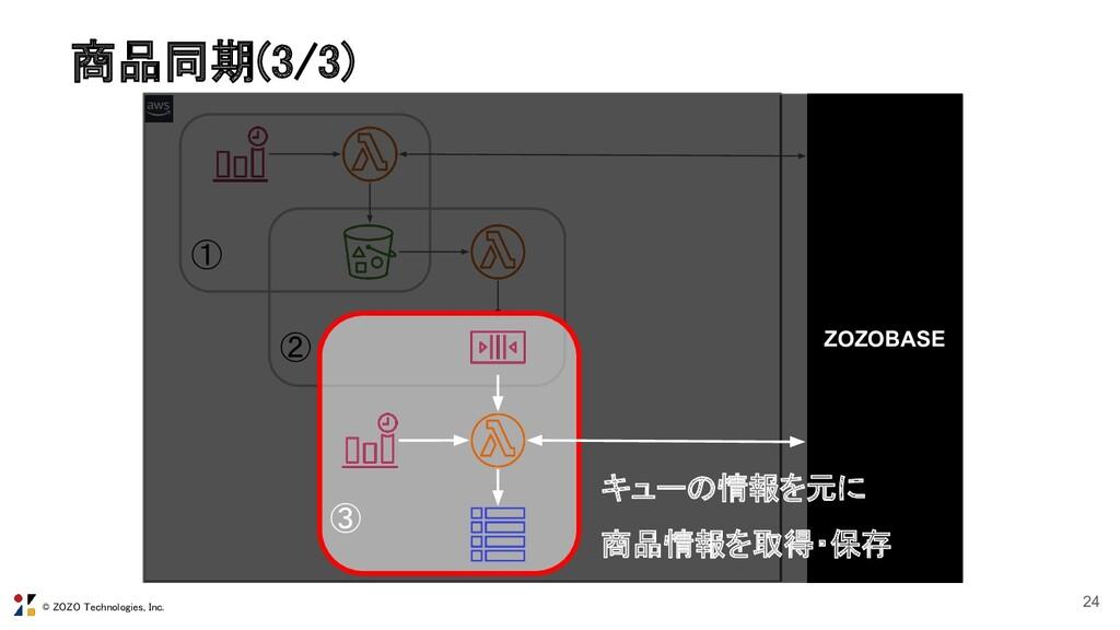 © ZOZO Technologies, Inc. 商品同期(3/3) 24 ① ② ZOZ...