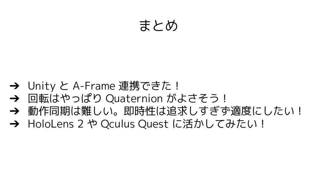 ➔ Unity と A-Frame 連携できた! ➔ 回転はやっぱり Quaternion が...