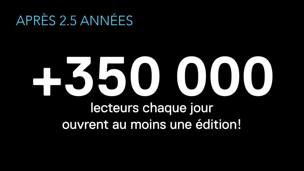 APRÈS 2.5 ANNÉES +350 000 lecteurs chaque jour...