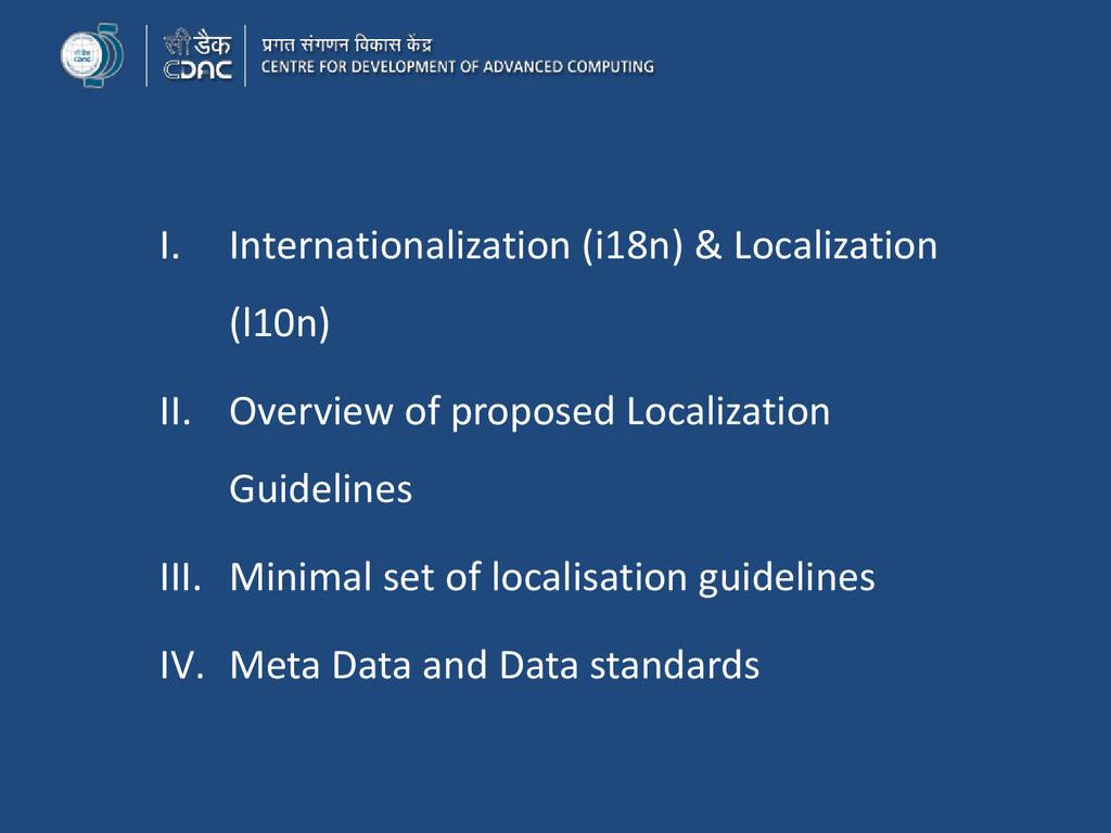 I. Internationalization (i18n) & Localization (...