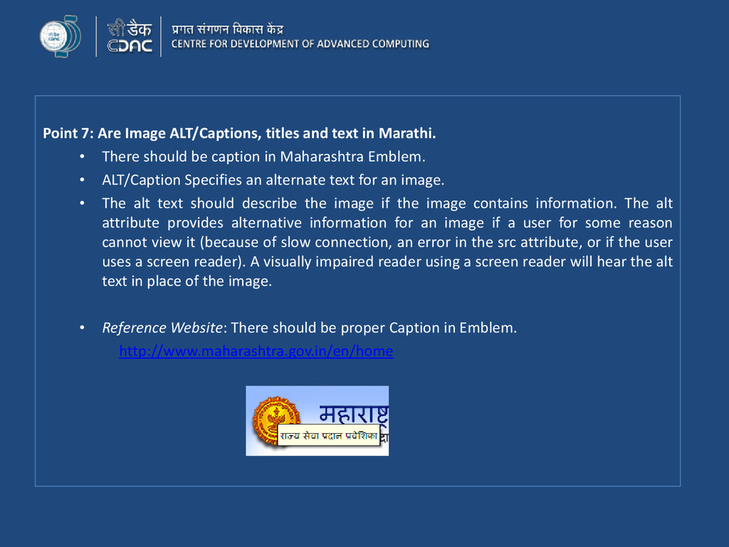 Point 7: Are Image ALT/Captions, titles and tex...