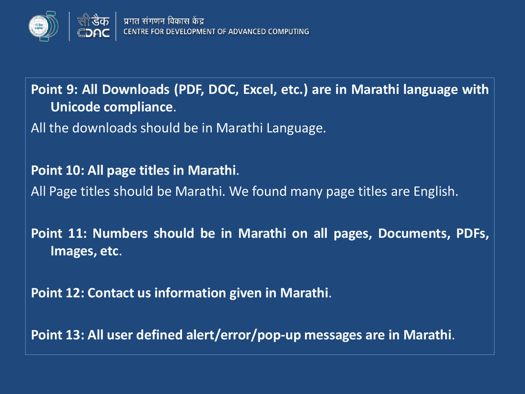 Point 9: All Downloads (PDF, DOC, Excel, etc.) ...