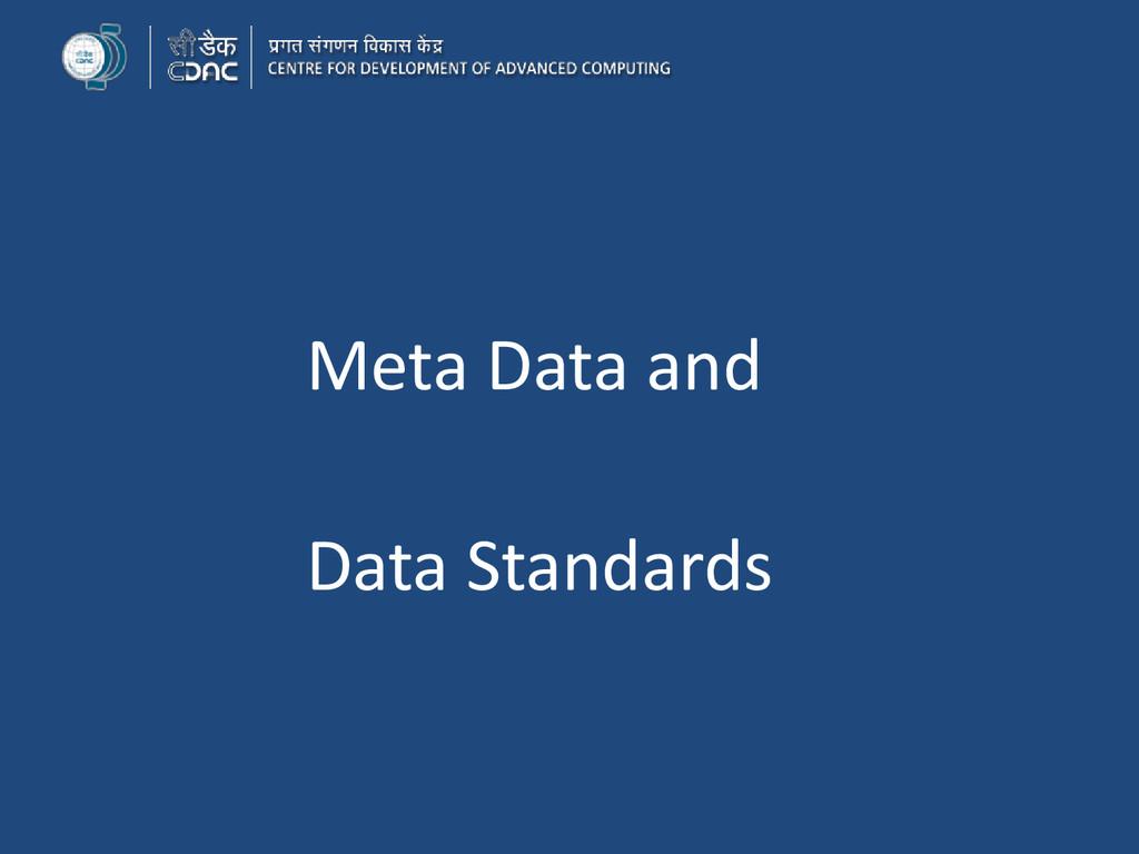 Meta Data and Data Standards