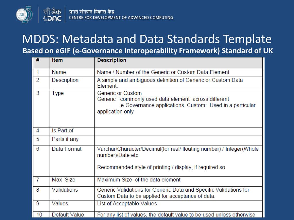 MDDS: Metadata and Data Standards Template Base...