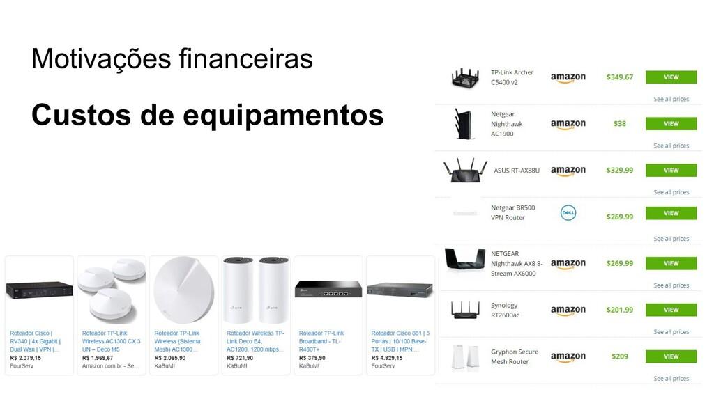 Motivações financeiras Custos de equipamentos