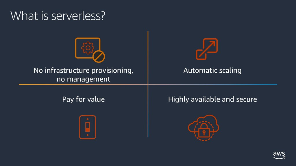 What is serverless? No infrastructure provision...