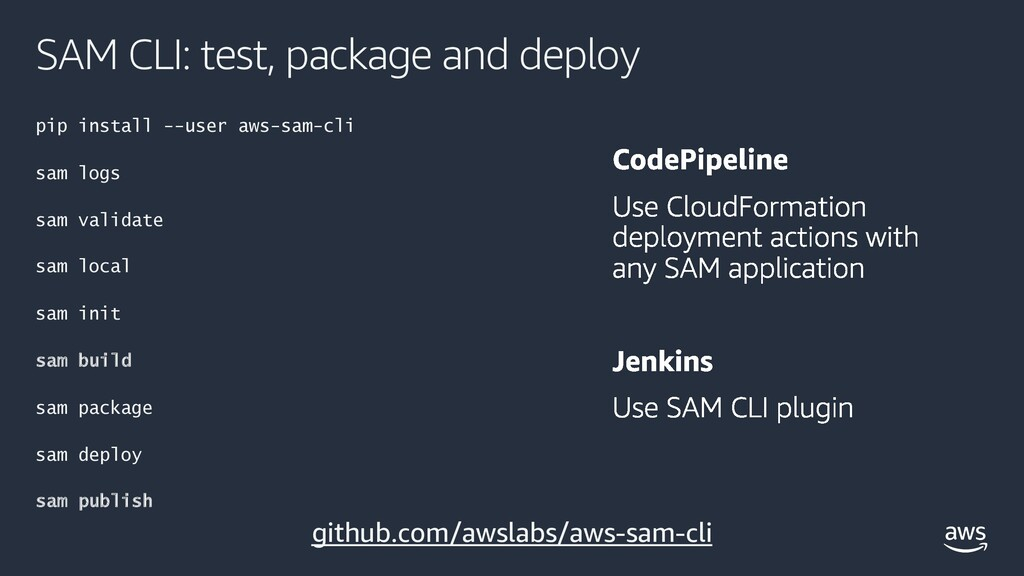 SAM CLI: test, package and deploy pip install -...