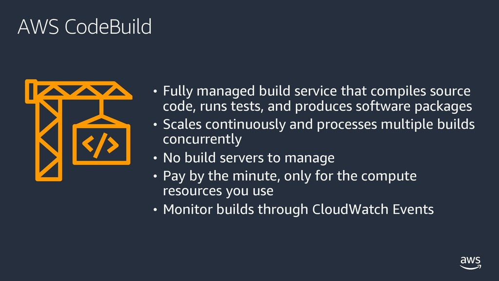 AWS CodeBuild • Fully managed build service tha...