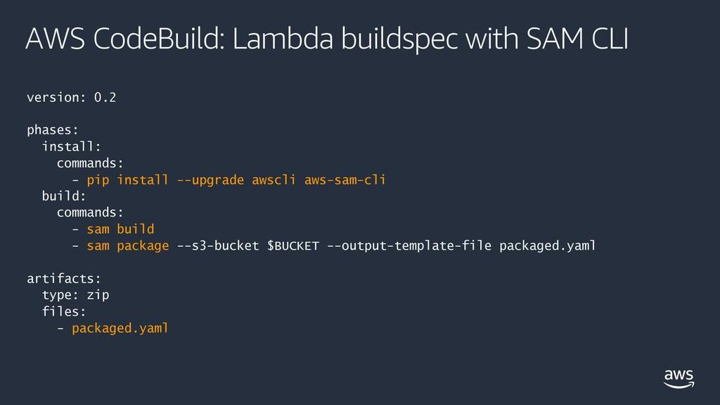 AWS CodeBuild: Lambda buildspec with SAM CLI ve...