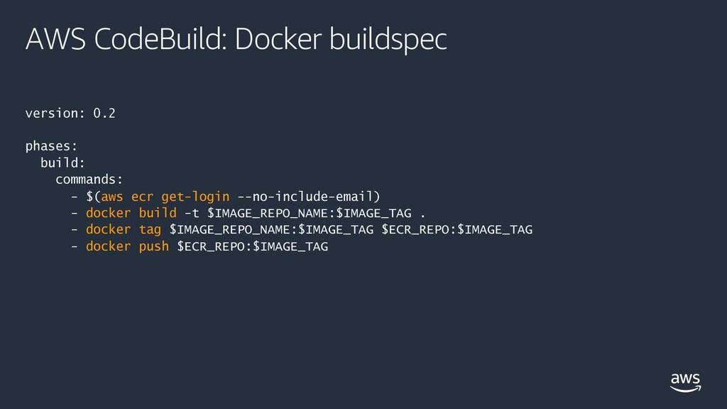 AWS CodeBuild: Docker buildspec version: 0.2 ph...