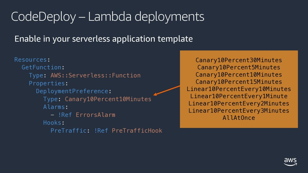 CodeDeploy – Lambda deployments Enable in your ...
