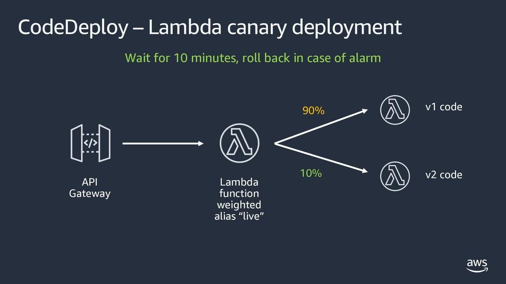CodeDeploy – Lambda canary deployment API Gatew...