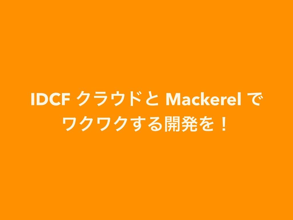 IDCF Ϋϥυͱ Mackerel Ͱ ϫΫϫΫ͢Δ։ൃΛʂ