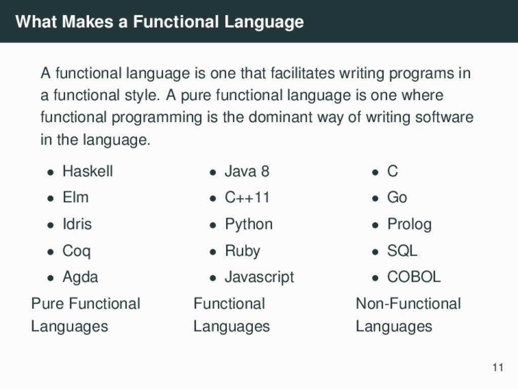 What Makes a Functional Language A functional l...