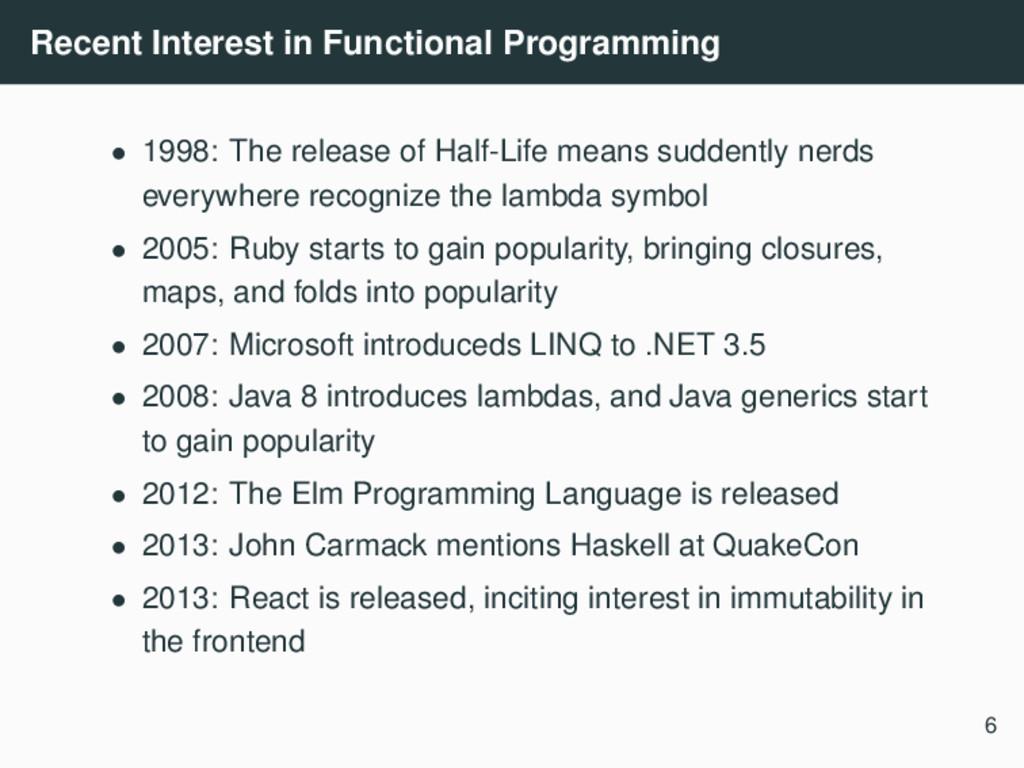 Recent Interest in Functional Programming • 199...