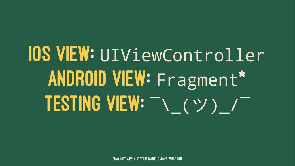 IOS VIEW: UIViewController ANDROID VIEW: Fragme...