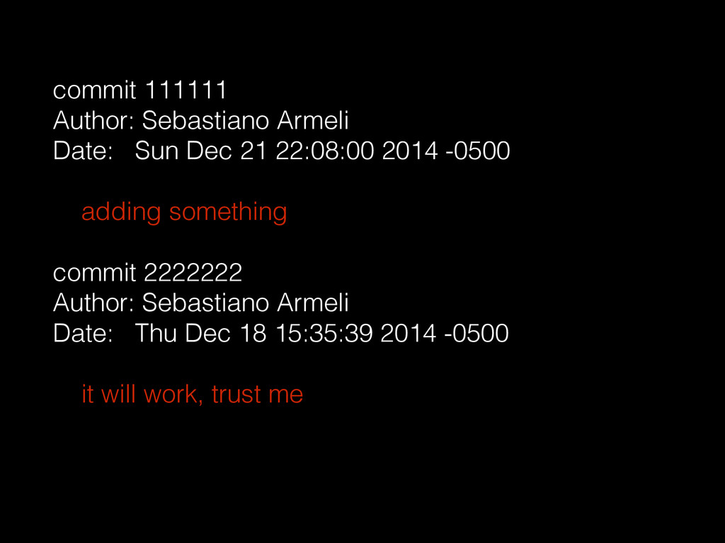 commit 111111 Author: Sebastiano Armeli Date: S...