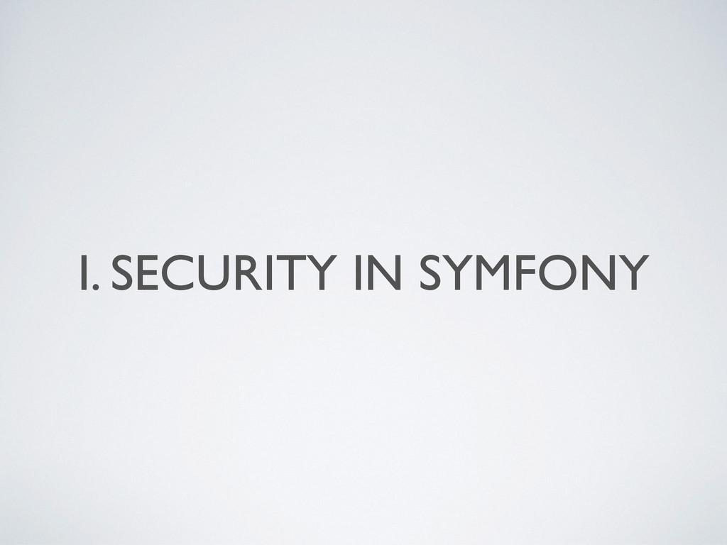 I. SECURITY IN SYMFONY