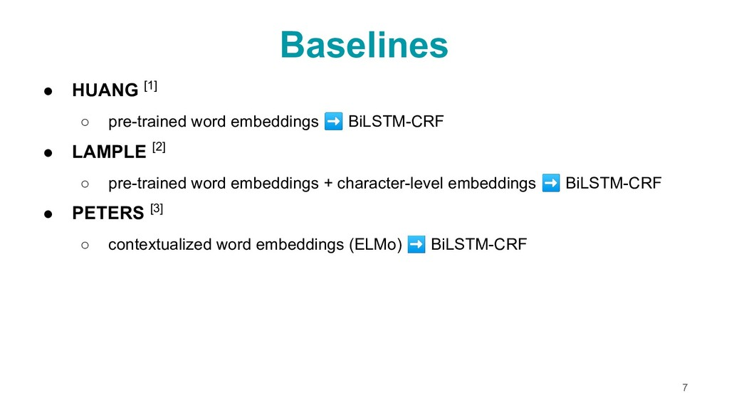 ● HUANG [1] ○ pre-trained word embeddings ➡ BiL...