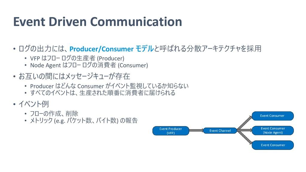 Event Driven Communication • ログの出力には、Producer/C...
