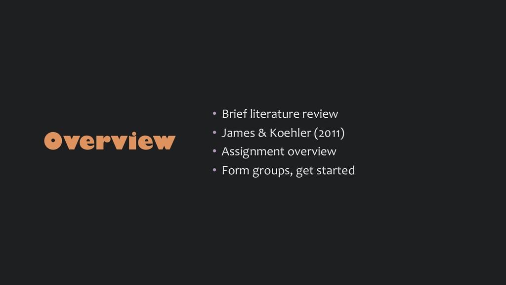 Overview • Brief literature review • James & Ko...