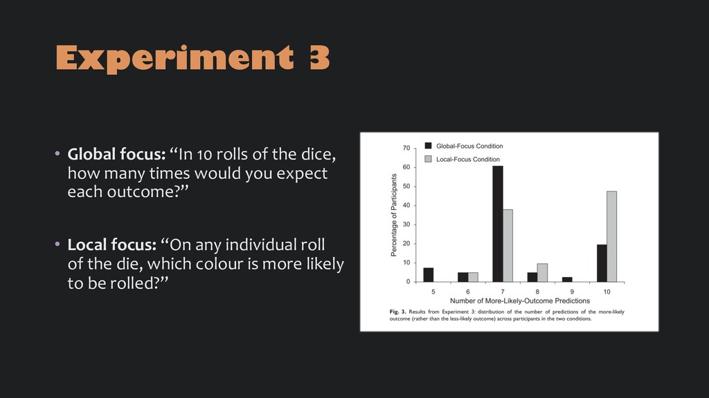 """Experiment 3 • Global focus: """"In 10 rolls of th..."""