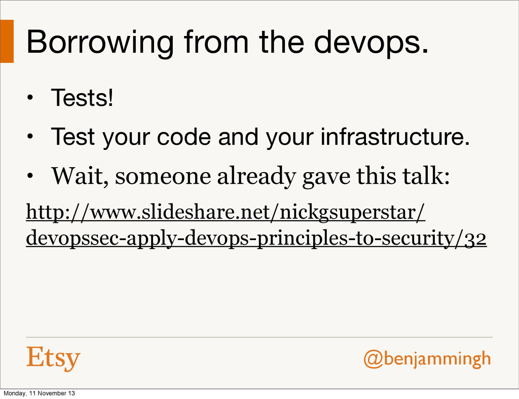 @benjammingh Borrowing from the devops. • Tests...