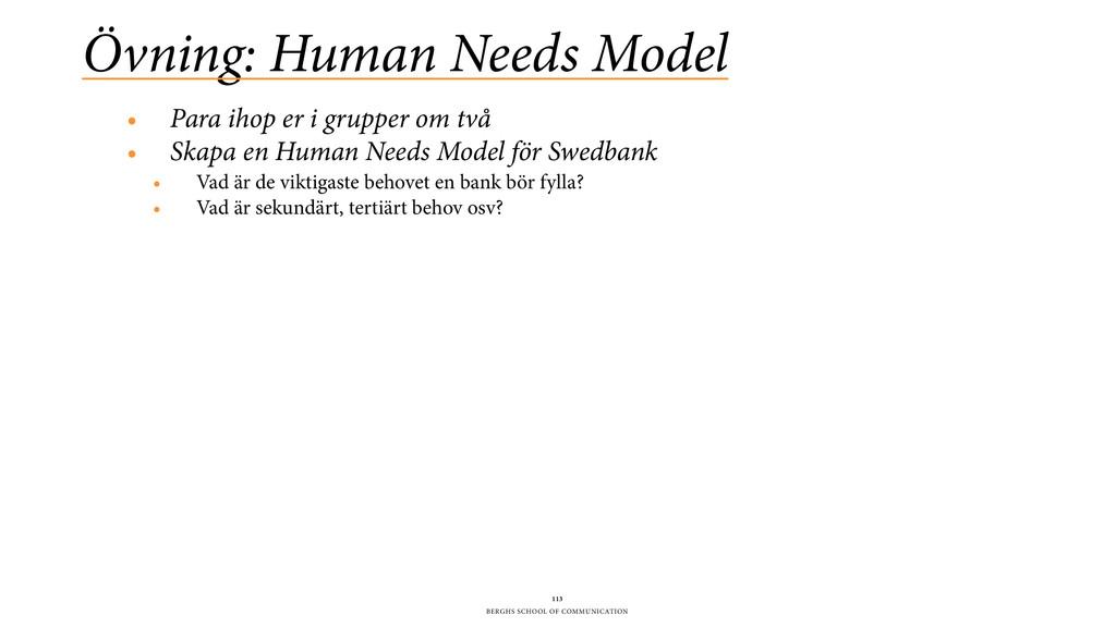 BERGHS SCHOOL OF COMMUNICATION Övning: Human Ne...