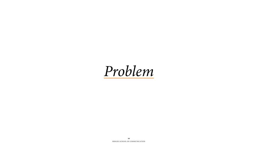 BERGHS SCHOOL OF COMMUNICATION 68 Problem