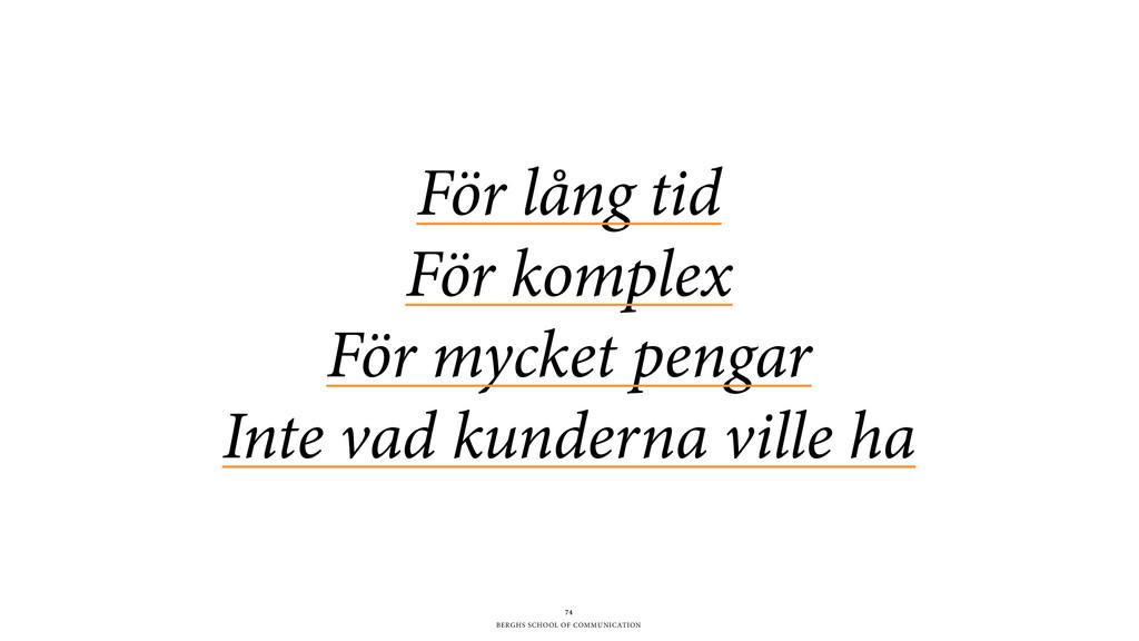 BERGHS SCHOOL OF COMMUNICATION För lång tid Fö...