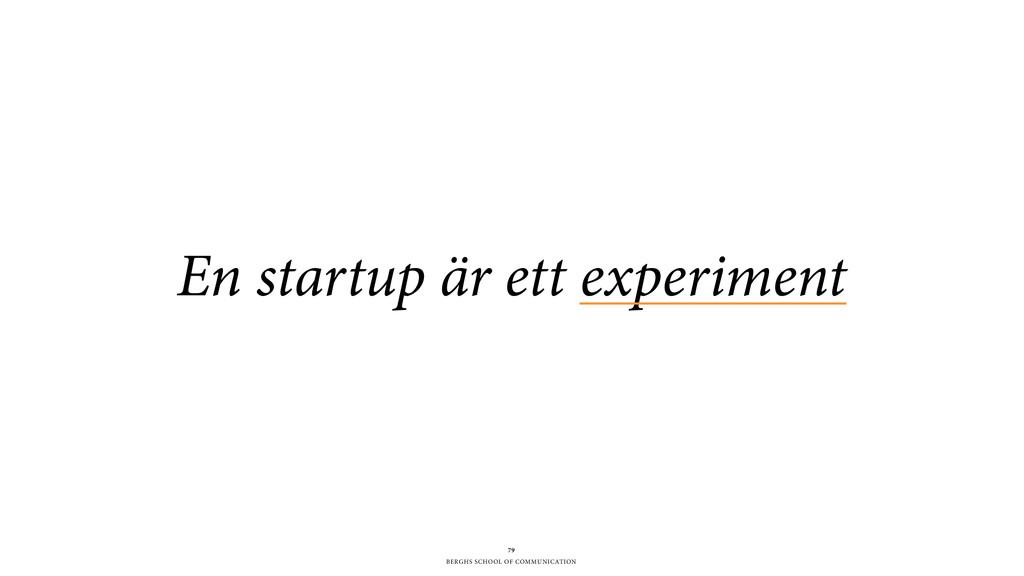 BERGHS SCHOOL OF COMMUNICATION En startup är et...