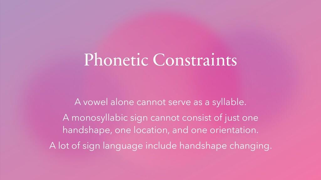 Phonetic Constraints A vowel alone cannot serve...