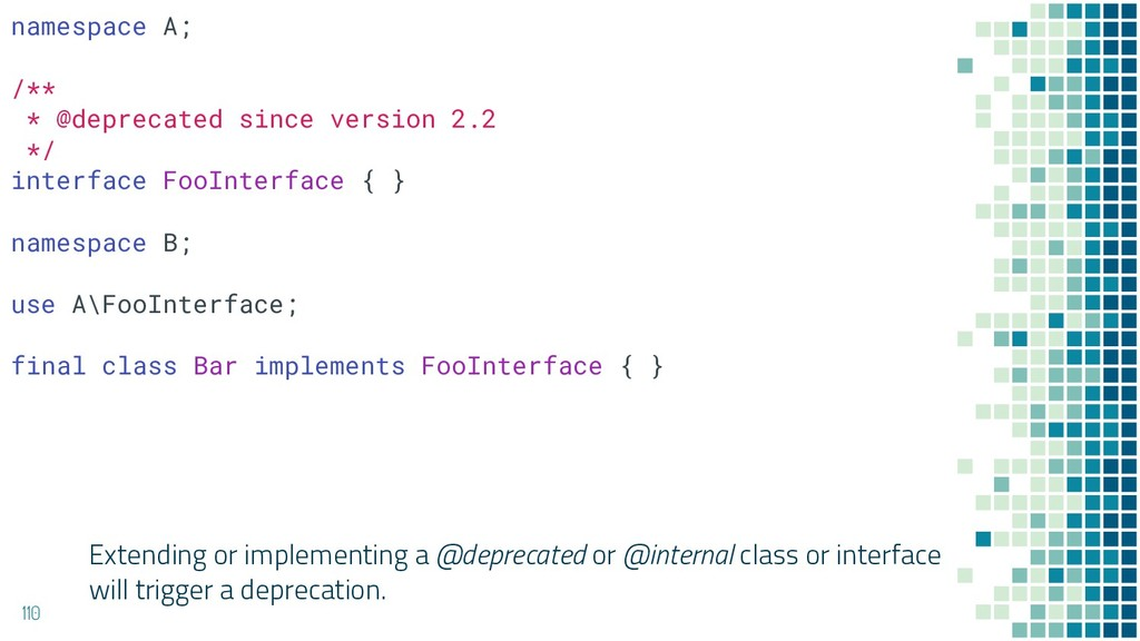 Extending or implementing a @deprecated or @int...
