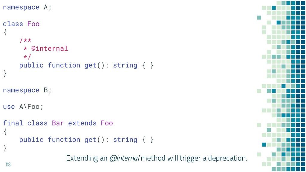 Extending an @internal method will trigger a de...