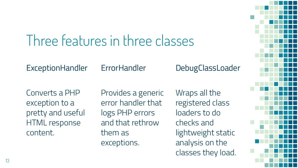 Three features in three classes ExceptionHandle...