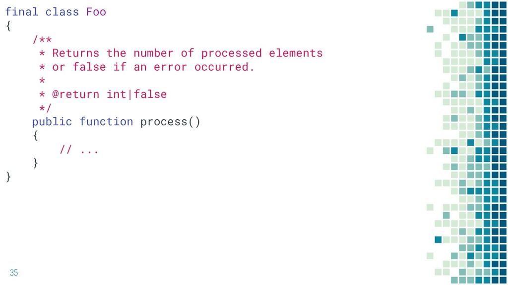 35 final class Foo { /** * Returns the number o...