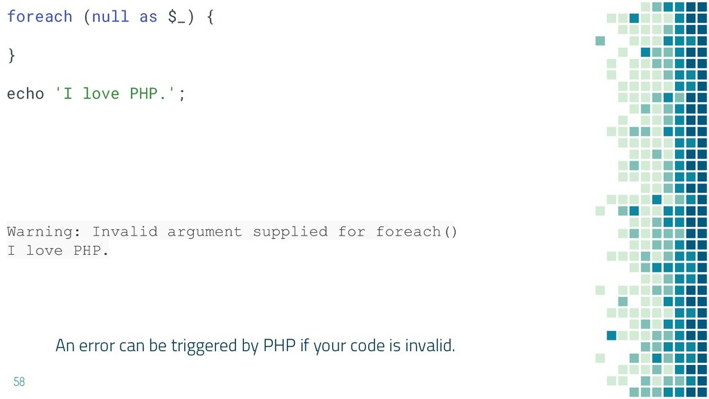 An error can be triggered by PHP if your code i...