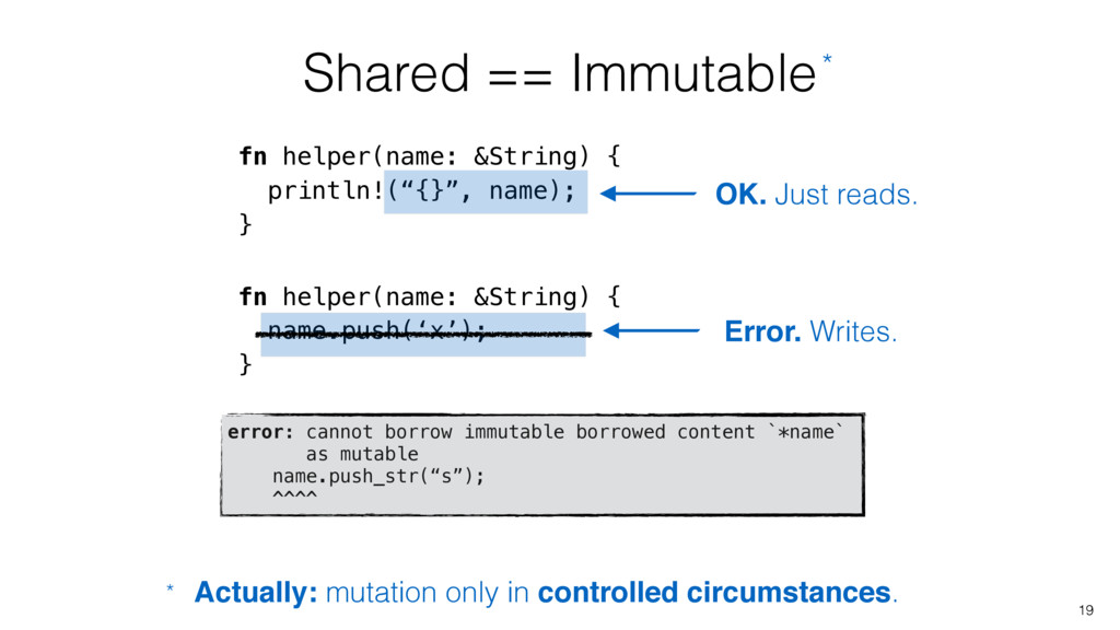 Shared == Immutable 19 fn helper(name: &String)...