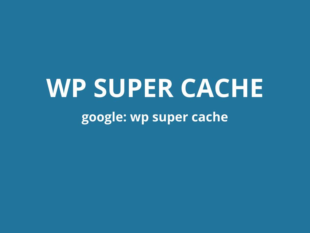 WP SUPER CACHE google: wp super cache