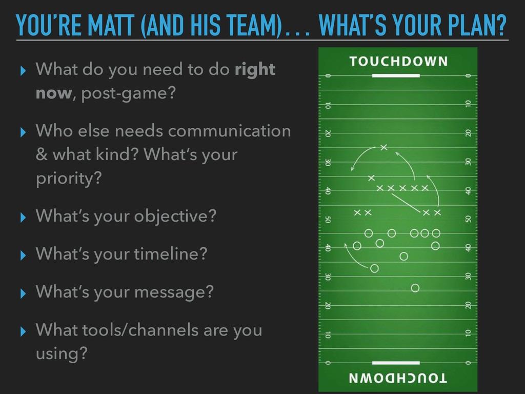 YOU'RE MATT (AND HIS TEAM)… WHAT'S YOUR PLAN? ▸...