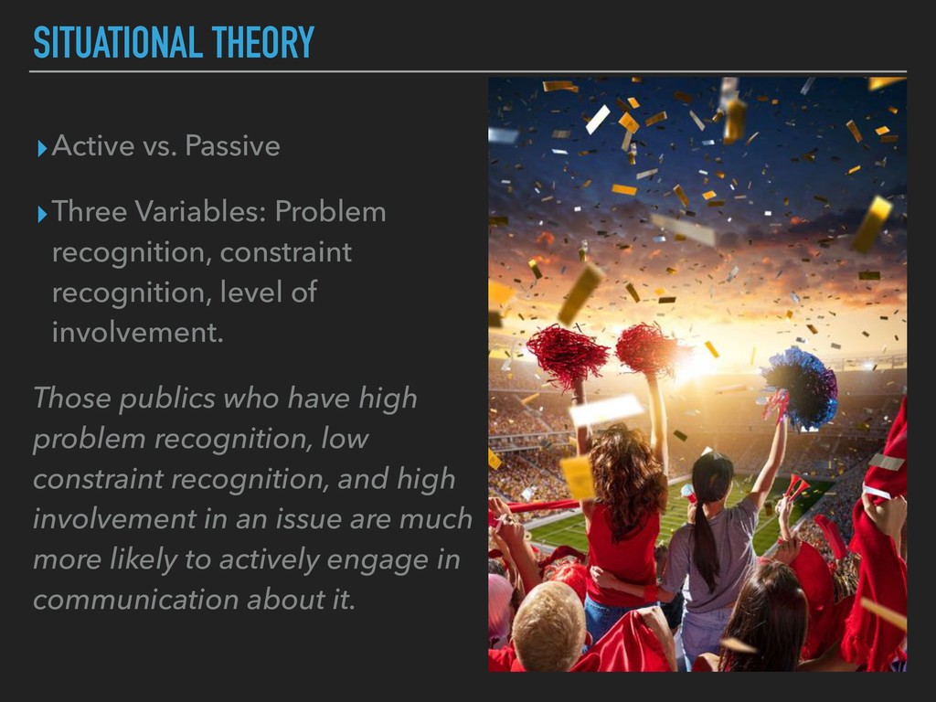 SITUATIONAL THEORY ▸Active vs. Passive ▸Three V...