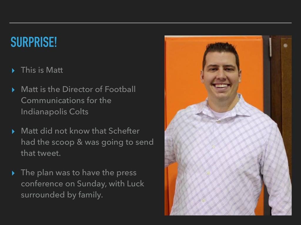 SURPRISE! ▸ This is Matt ▸ Matt is the Director...