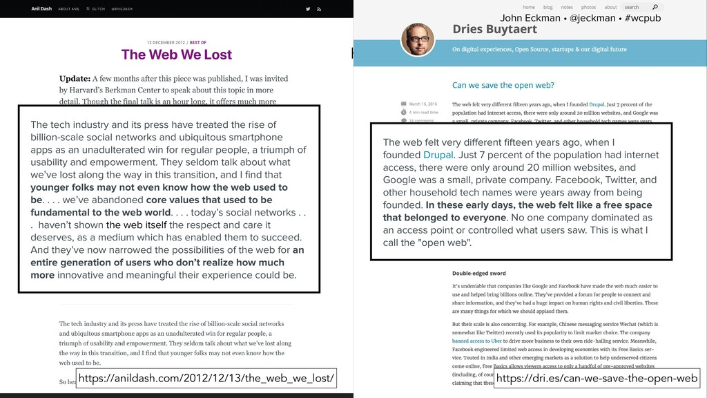 John Eckman • @jeckman • #wcpub https://dri.es/...