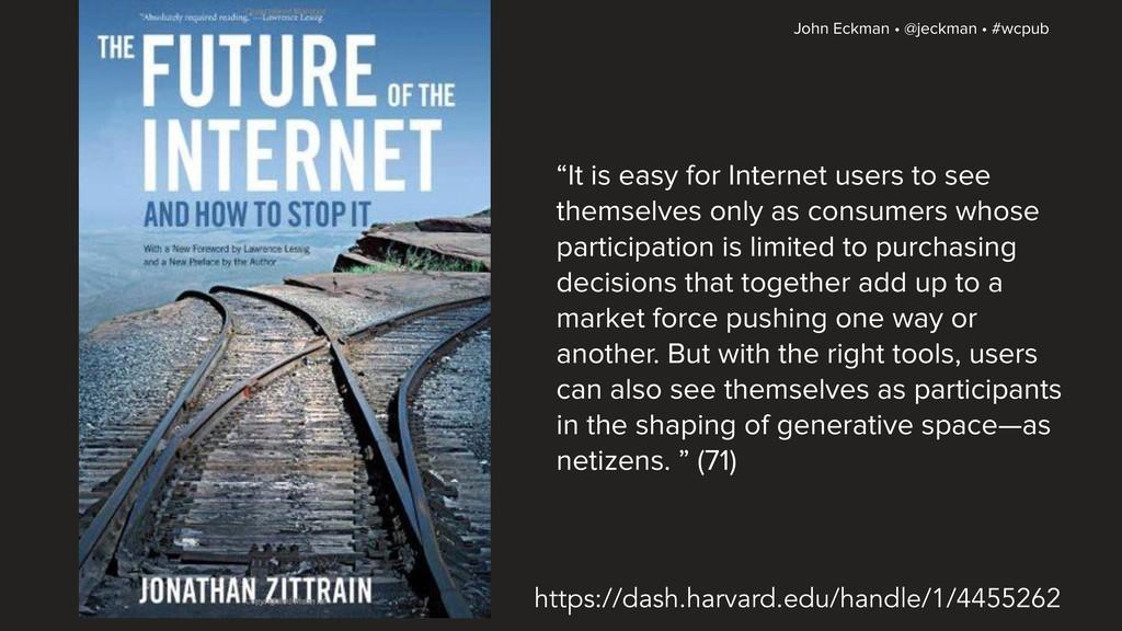 "John Eckman • @jeckman • #wcpub ""It is easy for..."