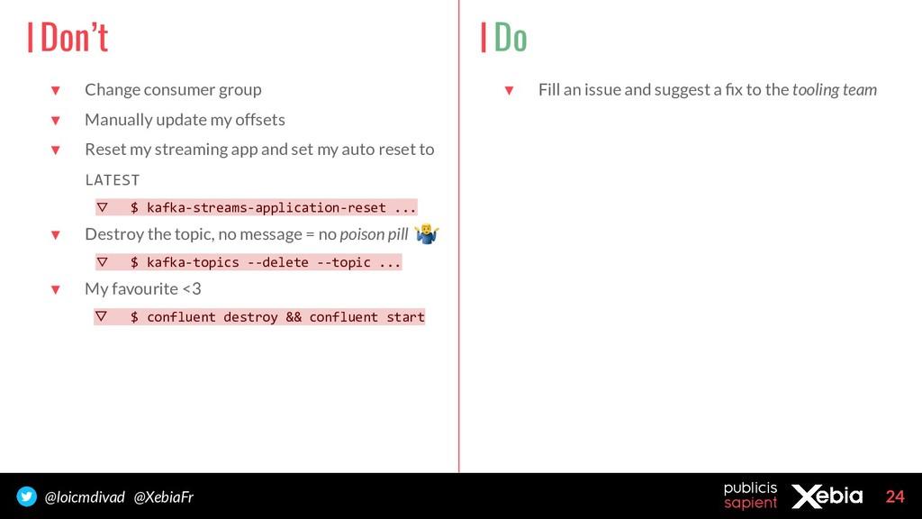 24 @loicmdivad @XebiaFr ▼ Change consumer group...