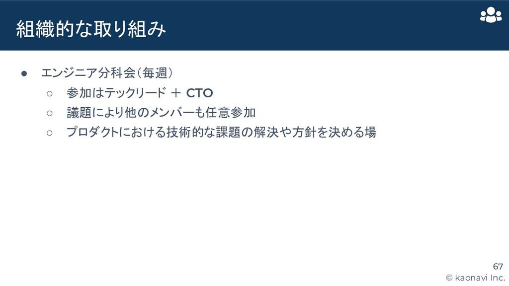 © kaonavi Inc. ● エンジニア分科会(毎週) ○ 参加はテックリード + CTO...