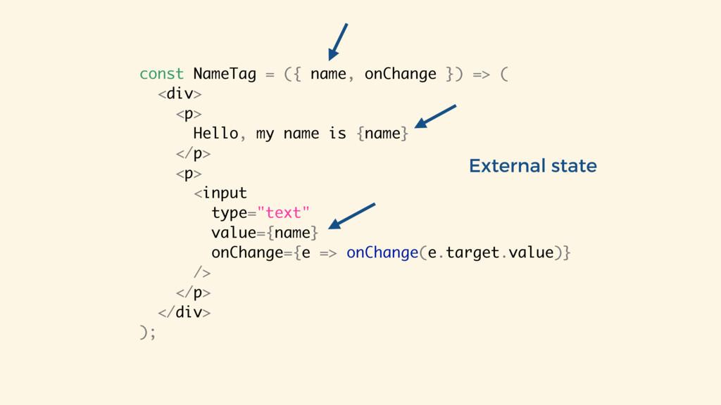 const NameTag = ({ name, onChange }) => ( <div>...